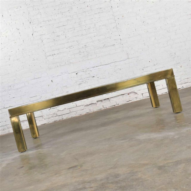 Mastercraft Large Modern Brass & Glass Parsons Style Coffee or Cocktail Table Style Mastercraft For Sale - Image 4 of 13