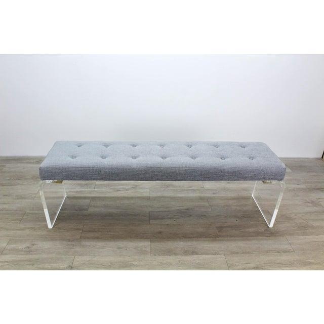 Elegant Custom Waterfall Acrylic & Linen Bench, Acrylic Bench, Gray Linen Bench For Sale - Image 9 of 10