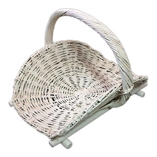 Vintage Log Basket - Woven Wicker For Sale