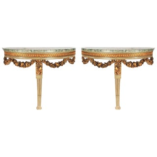 Pair of Louis XVI Style Demilune Consoles, 19th Century For Sale