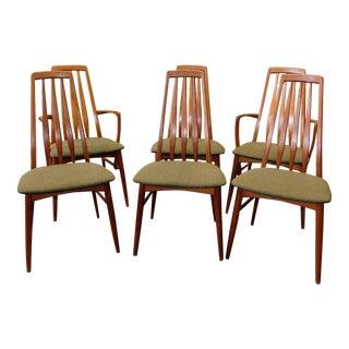 "Vintage Danish Modern ""Eva"" Niels Koefoeds Hornslet Teak Dining Chairs - Set of 6"