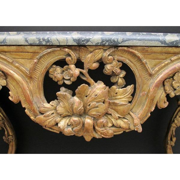 A Finely Carved Venetian Rococo Giltwood Console with Marble Top For Sale - Image 4 of 7
