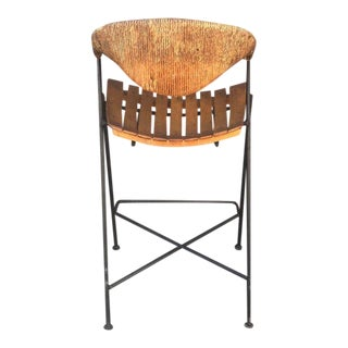 1950s Arthur Umanoff Iron and Wicker Bar Stool, 1950s For Sale