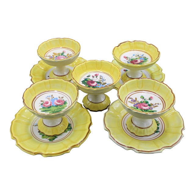 1940s Italian Dessert Plates and Compotes For Sale
