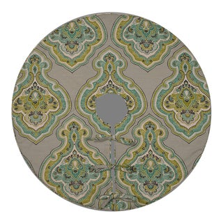 Contemporary Lime Green and Aqua Blue Patterned Tree Skirt For Sale
