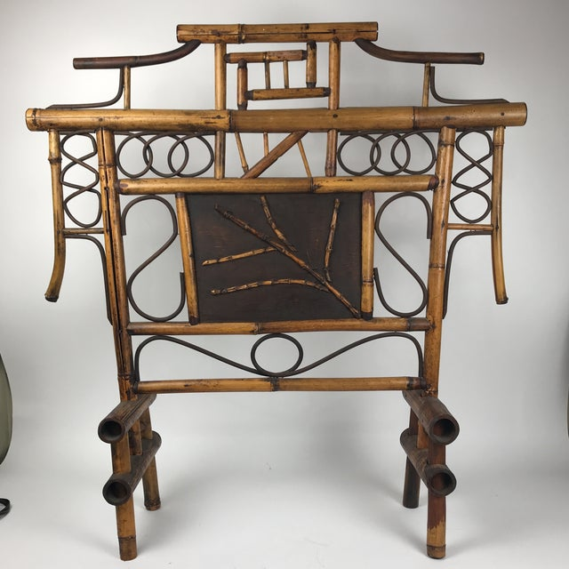 Vintage Bamboo Standing Fireplace Screen Table Top Room Screen For Sale - Image 9 of 9