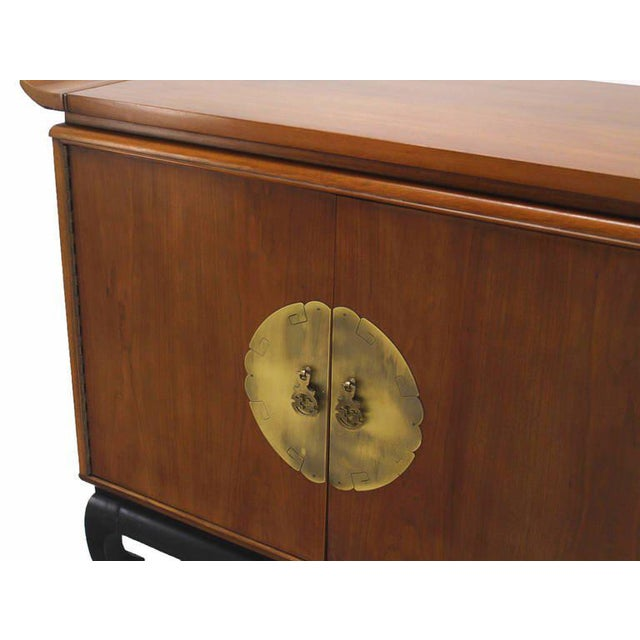Asian Oriental Modern Walnut Server Cabinet For Sale - Image 3 of 7