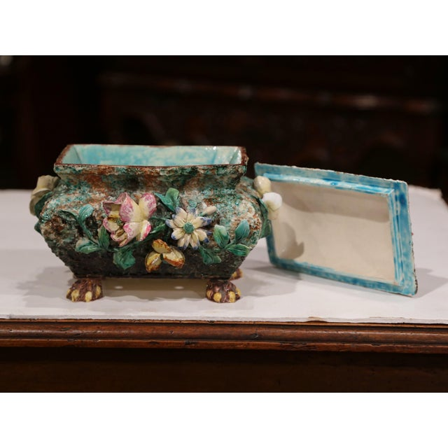 Ceramic 19th Century French Painted Ceramic Barbotine Decorative Box With Floral Motif For Sale - Image 7 of 11