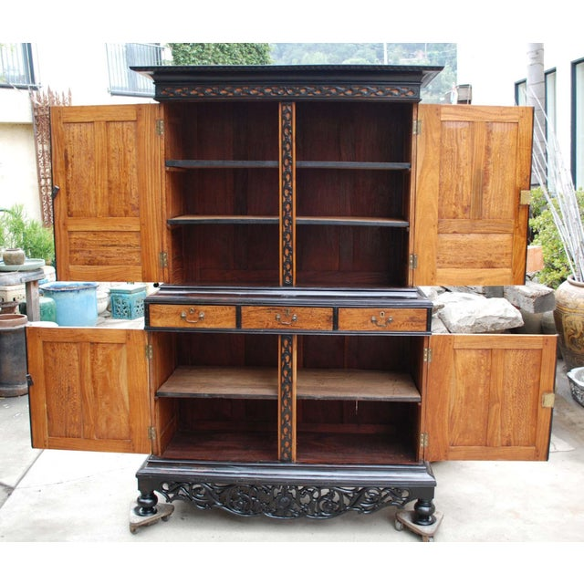 19th c. British Colonial Satin/Ebony 4 Door Cabinet with Carved Moldings - Image 6 of 8