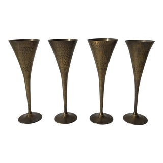 Hammered Brass Champagne Flutes- Set of 4 For Sale
