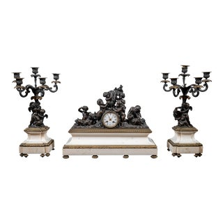 19th Century French Bronze Clock Garniture Set- 3 Pieces For Sale