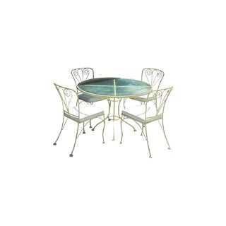 Yellow Wrought Iron Dining Table and Four Chairs-Set of 5 For Sale