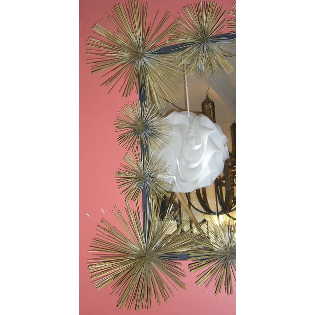 """Brutalist French Handcrafted Metal """"Pom-Pom"""" Wall Mirror For Sale - Image 3 of 5"""