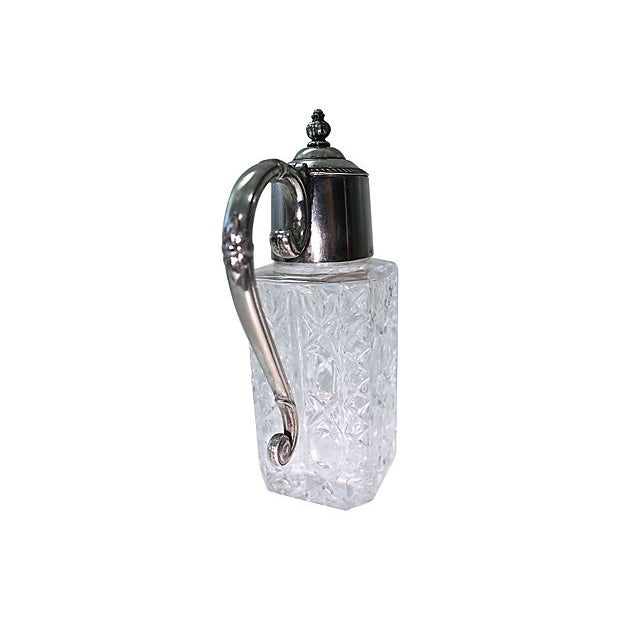Traditional Heavy Crystal & Silver-Plate Decanter For Sale - Image 3 of 5