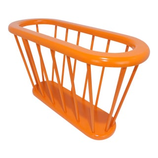 Contemporary Painted Orange Spindle Wood Magazine Rack For Sale