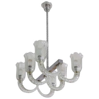 Italian Midcentury Murano Chandelier by Barovier & Toso, 1940s For Sale