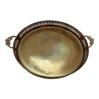 Vintage Round Brass Gallery Tray With Floral Handles For Sale