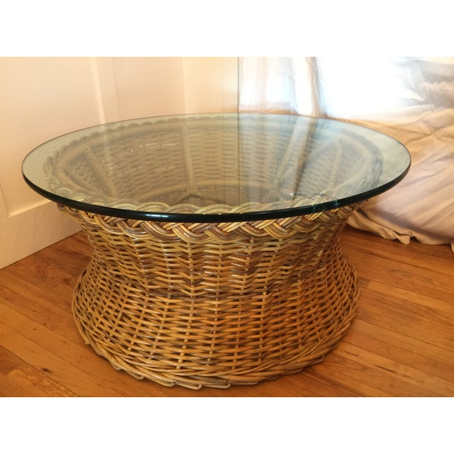 1970s Boho Chic Round Wicker Coffee Table For Sale - Image 11 of 11