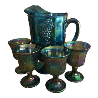 1950s Iridescent Grape Carnival Glass Pitcher & Glasses - Set of 5 For Sale