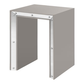 Small Edge Side Table in Taupe / Nickel - Flair Home for The Lacquer Company For Sale