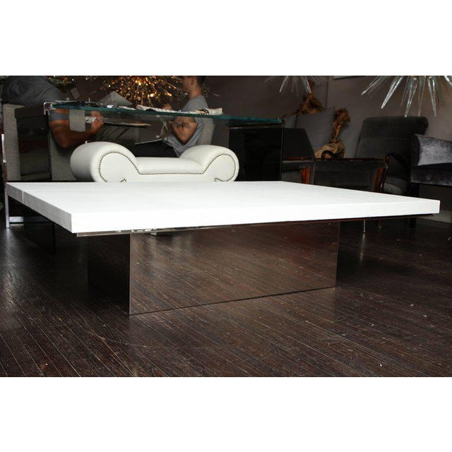 2010s Custom White Leather Cocktail Table For Sale - Image 5 of 7