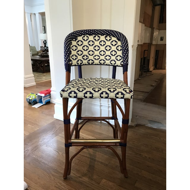 Three Bistro style counter stools, 8 matching side chairs also being sold. Brass rod detail on bottom.