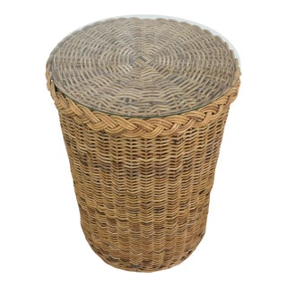1970s Boho Chic Round Wicker Rattan Side Table For Sale
