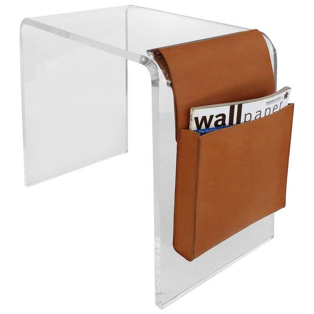 Custom-Made Lucite Side Table with Leather Magazine Pocket For Sale - Image 10 of 10
