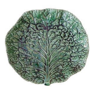 Majolica Cabbage Ware Welled Dish by Bordallo Pinheiro For Sale