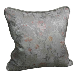 Vintage Silk Floral Damask Fragment Throw Pillow For Sale