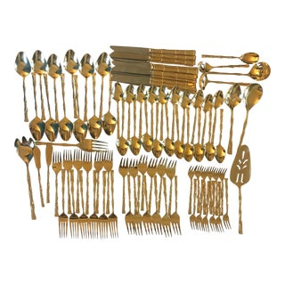 Gold Bamboo Flatware - 93 Piece Set