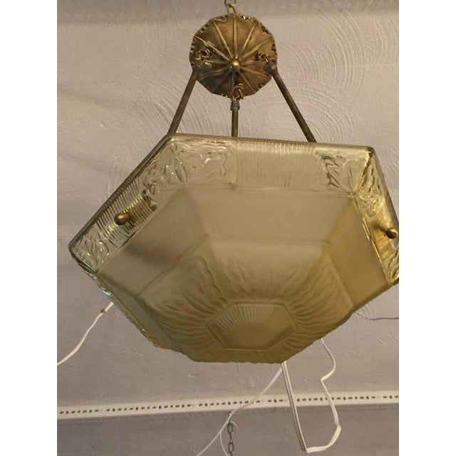 Brass French Art Deco Glass and Brass Chandelier For Sale - Image 7 of 8