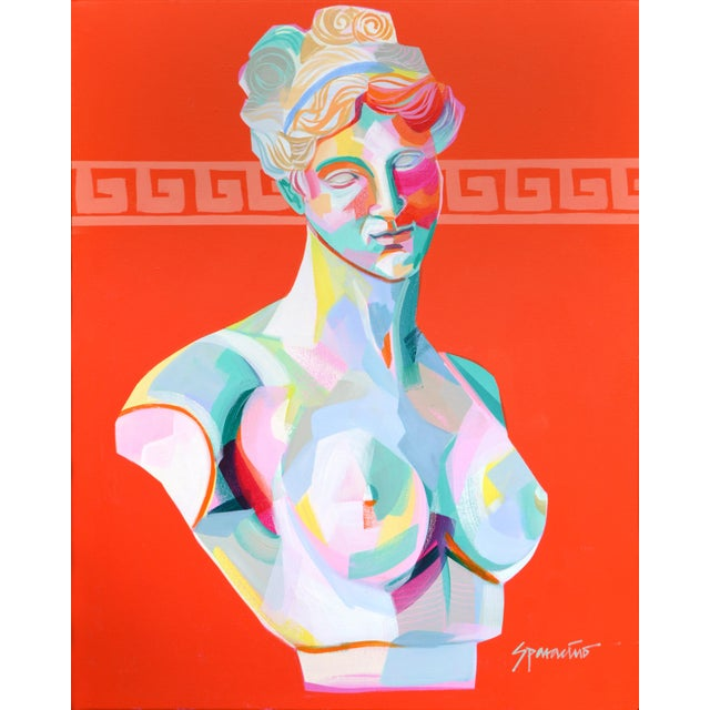 Pop Art Pop Art Acrylic Painting, Greek Bust 3 For Sale - Image 3 of 3