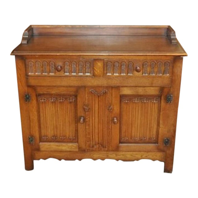 Jacobean Style English Oak Console Cabinet - Image 1 of 4