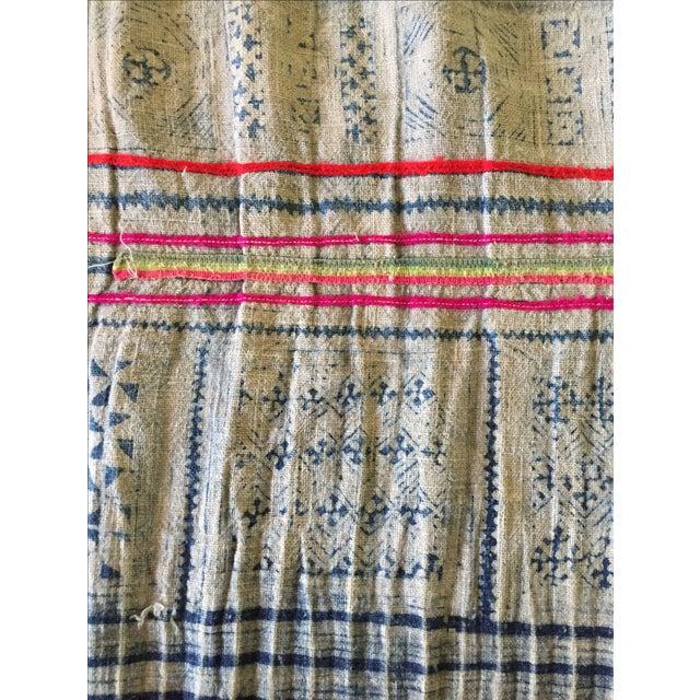 Vintage Batik Hmong Textile Hemp Indigo Runner - Image 5 of 6