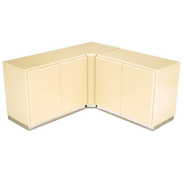 Milo Baughman Ivory Lacquer and Chrome, Two-Door Cabinets With Corner Pedestal For Sale - Image 9 of 9
