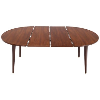 Dunbar Round Walnut Dining Table with 2 Extension Boards Leafs Racetrack Shape For Sale