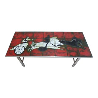 Mid Century Chrome Chariot Horse Ceramic Tile Top Coffee Table