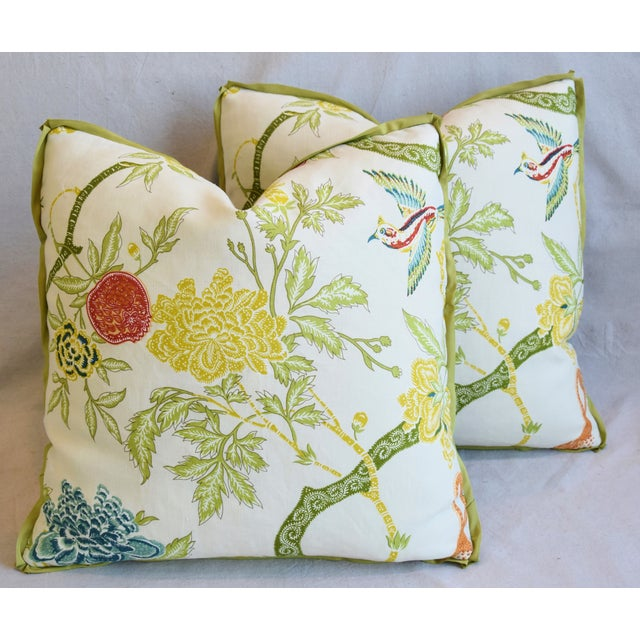 """Schumacher Arbre Chinois Meadow Chinoiserie Linen & Scalamandre Mohiar Pillows 21"""" Square - Pair For Sale - Image 12 of 13"""