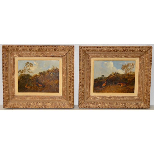 Pair of Early 20th C. Pheasant Hunt Oil Paintings For Sale - Image 11 of 11