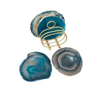 Teal Blue Gold Trim Agate Slice Coasters & Caddy | High Quality Natural Brazilian Sliced Agate | Set of 4 + Holder For Sale