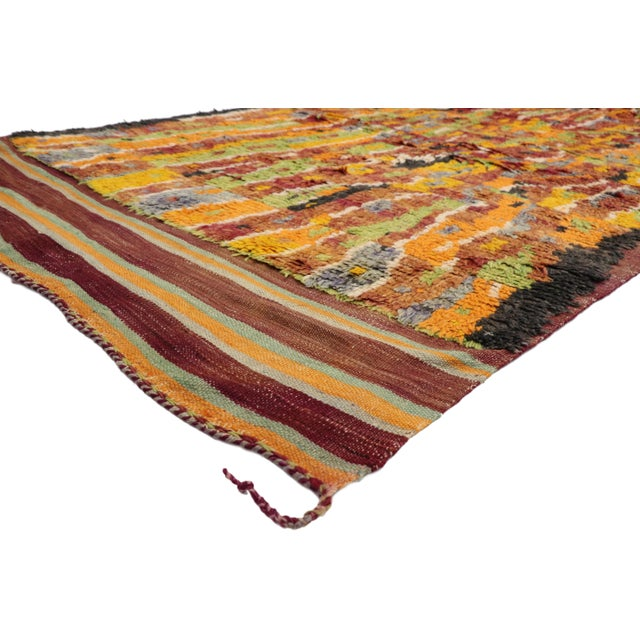 Vintage Berber Ait Bou Ichaouen Moroccan Rug with Abstract Expressionist Style. Displaying asymmetrical spontaneity,...