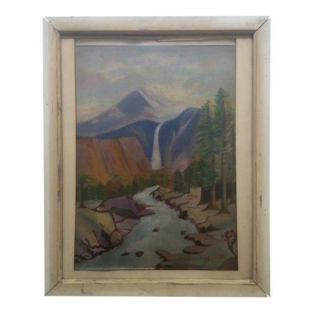 1940's Primitive Landscape Painting - Image 1 of 6
