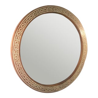 1940s Round Inlaid Greek Key Mirror Attributed to Theodore Robsjohn-Gibbings For Sale