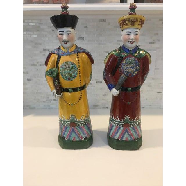 Vintage Qing Dynasty Emperor Figures. Vivid color glazes and in excellent condition!