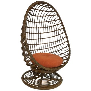 Mid Century Modern Woven Rattan Egg Chair For Sale