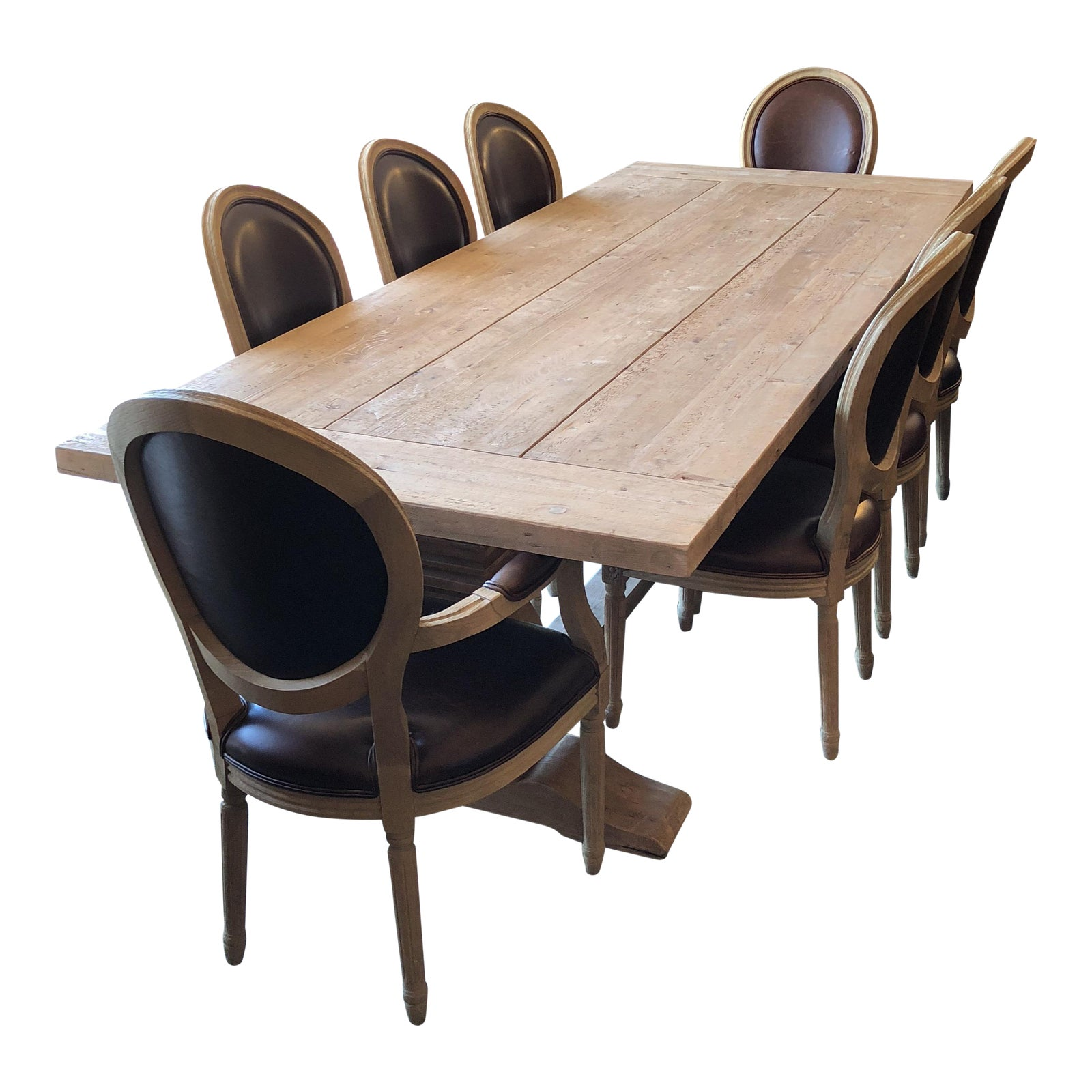 Restoration Hardware Salvaged Trestle Extension Table With French Round Dining