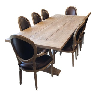 Restoration Hardware Salvaged Trestle Extension Table With French Round Dining Chairs Set