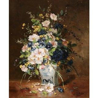 'Flowers' Oil Painting Henri Cauchois (1850 - 1911) For Sale