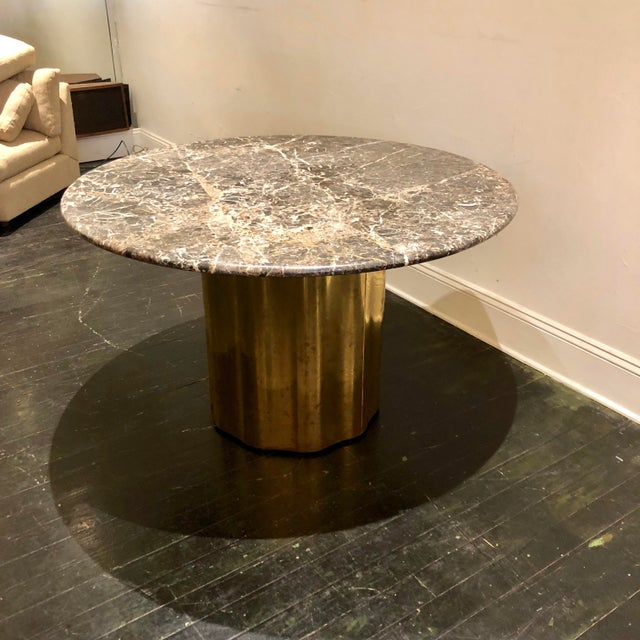 Italian Italian Marble Table / Brass Base Table For Sale - Image 3 of 10